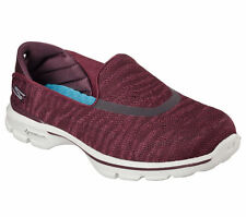 14153 Burgundy Skechers Shoes Go Walk 3 Women Soft Fabric Slip On Goga Mat Ligth