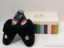 New NIB Coach Carra Signature Shearling & Suede Slippers Black (A great gift!)