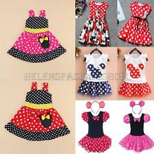 Baby Girls Minnie Mouse Fancy Dress Kids Cartoon Polka Dot Clothes Party Dresses