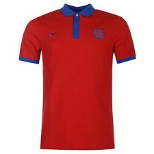 Nike FC Barcelona Polo Shirt Mens Crimson/Royal Football Soccer Top T-Shirt