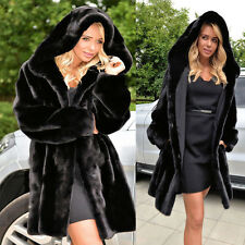New Women's Warm Winter Faux Fur Hooded Parka Coat Overcoat Jacket Outwear Black