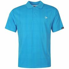 Dunlop Check Golf Polo Shirt Mens Aqua Collared T-Shirt Top