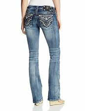 Miss Me Jeans Women's Rose Gold Lace Embroidered Pocket Medium Wash JP7028B