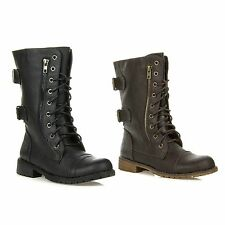 New Nature Breeze Women's Military Combat Buckle Lace Up Mid Calf Boot LUG-12