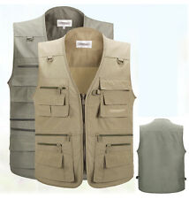 Men's Casual Multi-pocket Vest Sleeveless Zip-up Hunting Sport Outdoor Waistcoat