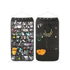 Jewelry Hanging Organizer Pocket Display Holder for Earring Necklace Black/Beige