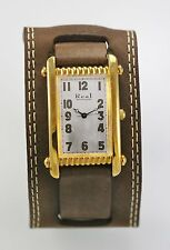 Real Men's White Pearl Dial Gold Case Brown Wide Cuff Band Quartz Battery Watch