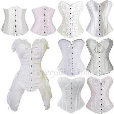#White Lace Up Boned Overbust Bustier Waist Training Corset Top Shaper Dress LBN