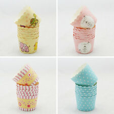 50 Pcs Utility Cake Baking Paper Cup Cupcake Muffin Cases Fit Home Party QW