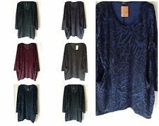 NEW WOMENS PLUS SIZE 20-22 LEOPARD PATTERN KNIT LOOK BAGGY LONG TOP WITH POCKETS