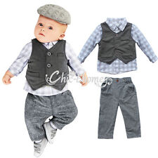 New Newborn Baby Boy Grey Waistcoat + Pants + Shirts Clothes Sets Suit 0-18M