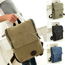 Mens Vintage Canvas Backpack Rucksack Laptop Shoulder Travel Camping Bag Satchel