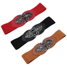 Premium Interlocking Floral Buckle Wide Elastic Stretch Waist Belt Waistband