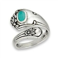 Sterling Silver Spoon Ring Flower Floral Motif w Synthetic Turquoise Size 6-9