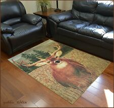 """Rustic Lodge Cabin Area Rug """"Buck Deer on the Field"""" Forest Wildlife 5x8, 4x6"""