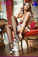 White Lace Top Black Fishnet Thigh High with Bow - Baci Lingerie