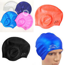 Waterproof Fresh Adults Silicone Stretch Swimming Cap Long Hair Hat With Ear Cup