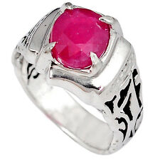 Natural pink ruby oval 925 sterling silver designer ring jewelry size 8 a5233
