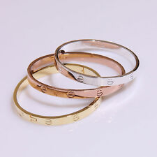 Gold-plated Stainless Steel Womens Cuff Bangle Jewelry Crystal Bracelet Gift New