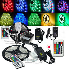 5M-15M RGB White 5050 3528  SMD Flexible Light LED Strip DC 12V Power Remote IR