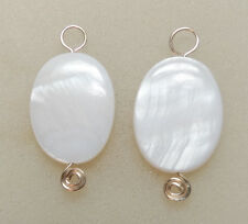 Fancy White Oval MOP INTERCHANGEABLE Earring Charms STERLING, ROSE or YG