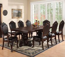 NEW 9PC STRASBOURG FORMAL TRADITIONAL DARK CHERRY FINISH WOOD DINING TABLE SET