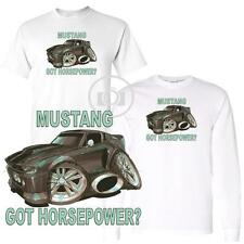 Ford Mustang GT Got Horsepower ? Koolart Car Cartoon Art White T Shirt M-3X