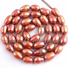 """6-7MM OVAL CULTURED FRESHWATER BROWN PEARL GEMSTONE JEWELRY BEADS STRAND 15"""""""