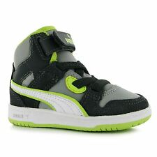 Puma Rebound Street Trainers Infants Black/Grey/Lime Baby Sneakers Shoes