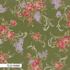 Lecien-Antique Rose Green Ribbon 31149-60 by the metre fabric by Lecien/Quilting