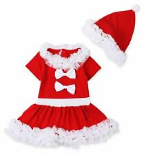 Toddler Kids Girls Christmas Claus Santa Dress + Hat Outfit Costume Xmas Clothes