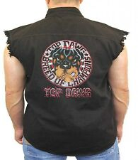 Rottweiler Denim Vest Top Dawg Breed Of Champions Dog Owner Biker Wear