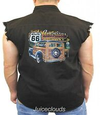 Classic Car Denim Vest Americas Highway Route 66 Hot Rod Outlaw Garage Biker