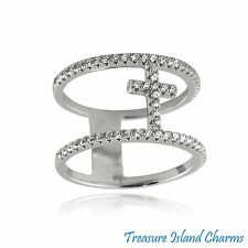 DOUBLE BAND CROSS .925 Sterling Silver RING w/ CLEAR CZ CRYSTALS SIZE 6, 7, 8, 9