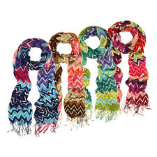 Multi Color Long Zig Zag Fringe Scarf - Different Colors Available