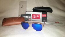NEW Ray Ban Aviator Sunglasses Gold Frame Blue Mirror Lens 58-62mm 112/17