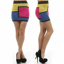Skirt S M L Color Block Mini Stretch Knit Mod Pink Yellow Blue Sexy New Square