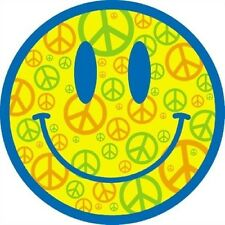 Cool Neon Smiley Face T Shirt Peace Sign Love Music Pop Happy Woodstock Sun