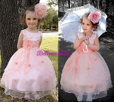 Coral Scoop Tulle Dresses Wedding Flower Girl Pageant Party Size 18m-7 FG220B