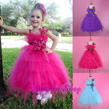 Sequined Flower Girl Tiered Tulle Dress Wedding Pageant Holiday Size 2T-10 FG254