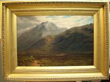 Large 19th Century Highland Landscape Sheep Antique Oil Painting S&D 1881