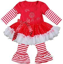 Rhinestone 1st Christmas Santa Red White Stripes  Ruffled Top Pants Outfit