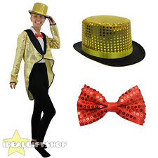 GOLD SEQUIN TAILCOAT TOP HAT AND RED BOW TIE UNISEX FANCY DRESS COSTUME MUSICAL