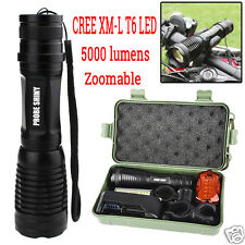 CREE XM-L T6 LED Zoom 5000LM Flashlight Torch Light 18650 Battery Bike Taillight