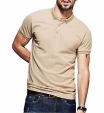 100% Cotton Mens Casual Polo shirt Lapel Short Sleeve Solid T-shirt M L XL XXL