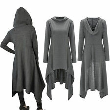 New Women's Gray Gothic Long Hooded Cape Loose Cloak Costume Halloween Poncho