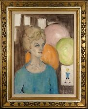 Rare ca.1964  Lady with Balloons & Boy Portrait Painting Oil/Canvas/Frame Signed