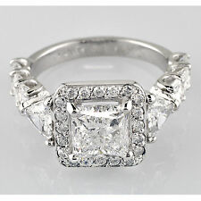 Diamond Engagement Ring EGL 3.93 Carat Princess Round and Radiant Cut Halo set