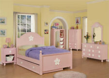 NEW 5PC COVEN PINK WOOD GIRLS TWIN FULL BEDROOM SET DRESSER NIGHTSTAND TRUNDLE