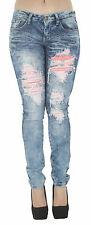 1A2980 - Women's Juniors Low Rise Distressed Embellished Premium Skinny Jeans